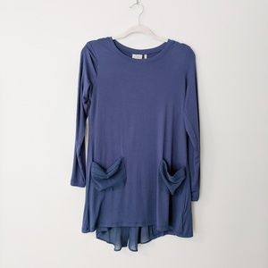LOGO Knit Top with Chiffon Pockets and Back Detail